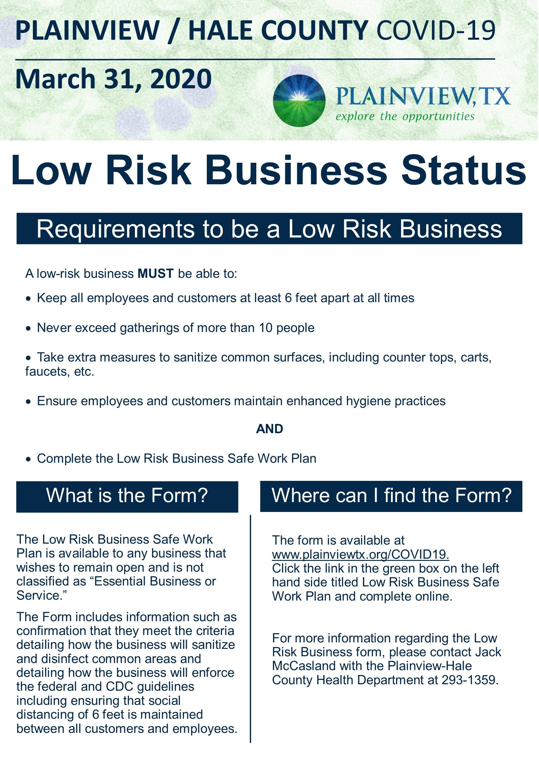 Low Risk Businesses
