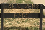 Wooden sign that reads E&E Givens Park